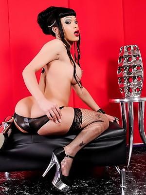 Sexy Adriana posing as a horny geisha girl